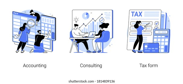 Financial information abstract concept vector illustration set. Accounting, consulting, tax form, tax filing, audit service, online application software, business strategy abstract metaphor.
