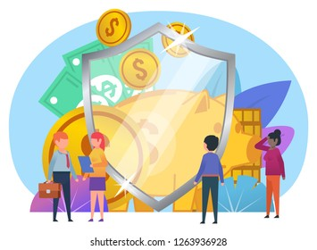 Financial insurance, savings protection, banking. Small people stand near big shield, money, coins. Poster for web design, banner, social media, presentation. Flat design vector illustration