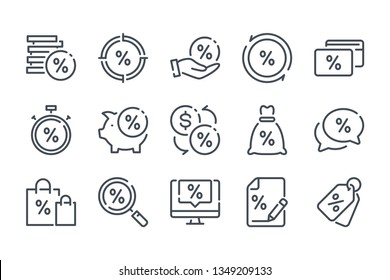 Financial interest related line icon set. Debt and loan vector linear icon collection. Credit and lending money lined icons.