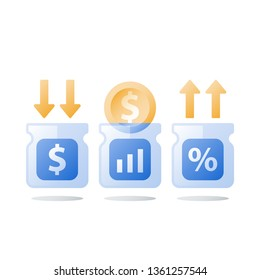 Financial invest fund, revenue increase, income growth, budget plan, return on investment, long term strategy, wealth management, more money, high interest, pension savings, superannuation concept
