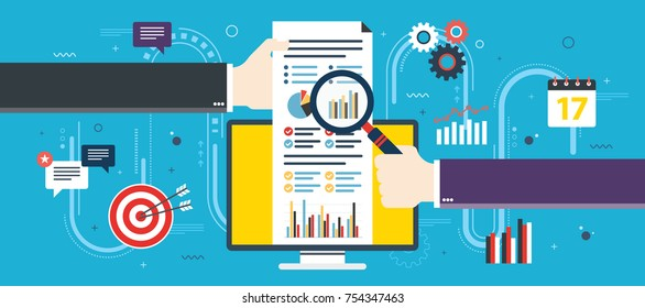 Financial investment, analytics with growth report. Calculations and graphs of gains on the stock market and real cash earnings. Successful business. Flat design vector illustration concept.