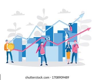Financial investment or Economic trends. Vector illustration for web banner, infographics, mobile.