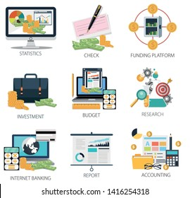 Financial Investment Icons, Internet Banking, Financial Statistics icon, Budget and Accounting Icons, Money & Funding Icons, Financial Report