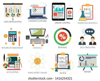 Financial Investment Icons, Make Money Online, Financial Statistics icon, Marketing and Research Icons, Money & Funding Icons, Financial Report - Review Revenue