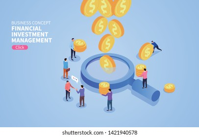Financial investment and management, business people use a magnifying glass to observe gold coins