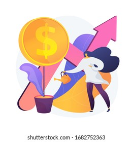 Financial investment. Market trends analysis, investing in lucrative areas, focusing on profitable projects. Businesswoman funding business project. Vector isolated concept metaphor illustration