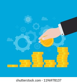 Financial investments, financial growth, revenue increase, budget management flat vector illustration design. Business and financial strategy design for web banners and apps