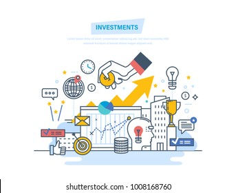 Financial investments, marketing, analysis, security of deposits, guarantee of security financial savings and money turnover. Investment in innovation. Illustration thin line design of vector doodles.