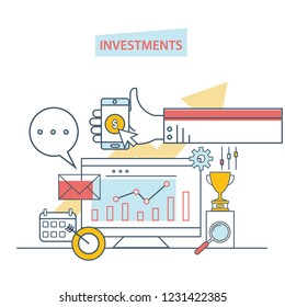 Financial investments, marketing, analysis, security of deposits, guarantee of security financial savings and money turnover. Investment in innovation. Illustration thin line design of vector doodles