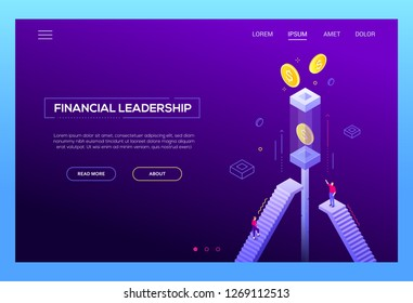 Financial leadership - modern isometric vector website header on purple background with copy space for text. Landing page template with business people, male and female managers climbing up the stairs