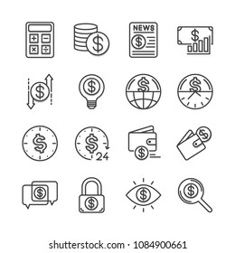 The financial line icons are 30x30 pixels and slightly raised from the background. Editable stroke. Vector illustration.