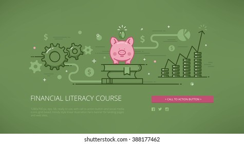 Financial literacy course modern line vector illustration for web banners, hero images, web sites and landing pages with call to action button and social media icons. Ready for use.