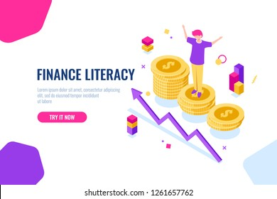 Financial literacy isometric, money accounting, economic illustration with woman who stand on podium, economics strategy. Flat color vector