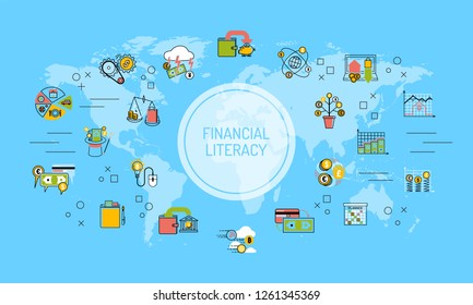 Financial literacy world map background saving money for education concept vector illustration. Outline earth economy education banking investment design.