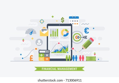 Financial management and analytic. Modern flat illustration for web.