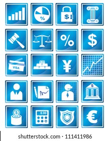 financial management and banking icon set, blue icon