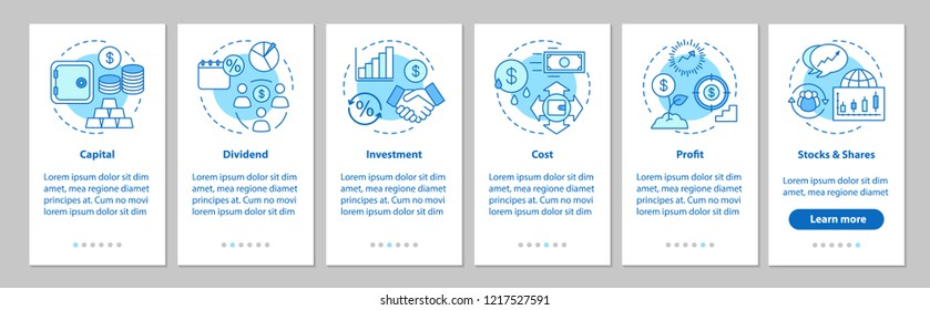 Financial management onboarding mobile app page screen with linear concepts. Investment and savings walkthrough steps graphic instructions. Banking. UX, UI, GUI vector template with illustrations
