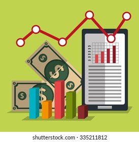 Financial market statistics graphic design, vector illustration