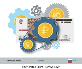 Financial mechanism with 100 Russian Ruble banknote and coins. Flat style vector illustration. Finance concept.