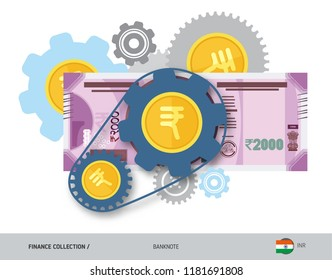 Financial mechanism with 2000 Indian Rupee Banknote and coins. Flat style vector illustration. Finance concept.