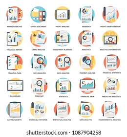 Financial Monitoring and Graphical Analysis Flat Icons Set