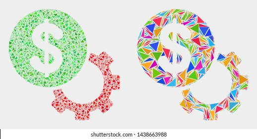 Financial options gear collage icon of triangle elements which have variable sizes and shapes and colors. Geometric abstract vector design concept of financial options gear.