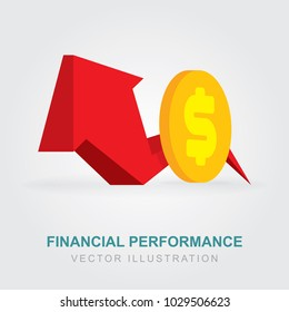 Financial performance illustration. Statistic report, boost business productivity. Profit growth icon. Vector 3d illustration.