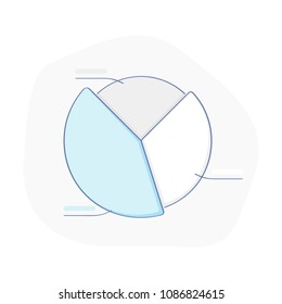 Financial Pie Chart, Round Diagram with Data. Business development, infographic info chart, presentation, statistics or progress concept. Flat outline isolated vector illustration on white background.