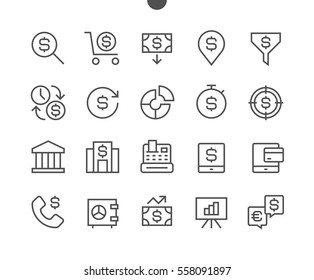 Financial Pixel Perfect Well-crafted Vector Thin Line Icons 48x48 Ready for 24x24 Grid for Web Graphics and Apps with Editable Stroke. Simple Minimal Pictogram Part 1-3