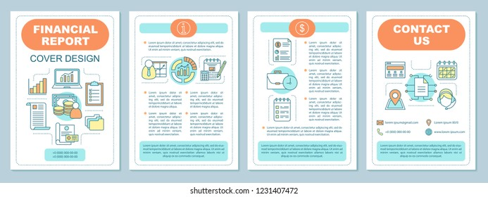 Financial planning brochure template layout. Accounting and invoicing. Bookkeeping. Flyer, booklet, leaflet print design with linear illustrations. Vector page layouts for magazines, posters, report