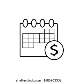 Financial planning thin line icon. Budget plan, calendar and dollar coin symbol, outline style pictogram on white background. Business sign for mobile concept and web design. Vector graphics