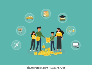 Financial planning,Vector illustration of Happy family and Yellow piggy banks with Flat stylish icon design on green background,Saving money for prepare in future and investment concept