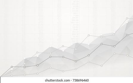Financial polygonal diagram with ascending graphs on white background with numbers.