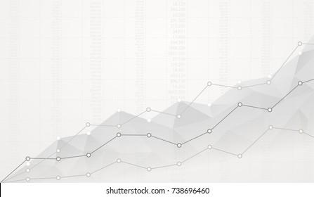 Finanzielles polygonal Diagramm mit aufsteigenden Graphen auf weißem Hintergrund mit Zahlen.