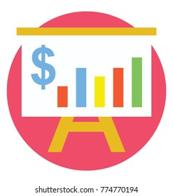 Financial presentation graph on whiteboard, flat vector icon