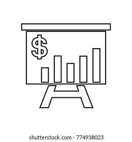 Financial presentation graph on whiteboard,