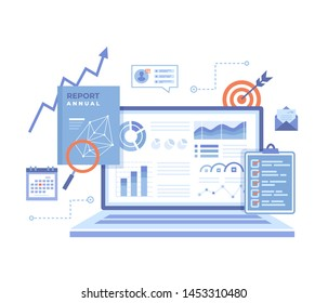 Financial Report. Accounting, analysis, audit, research, results. Laptop with graphs and charts on the screen, clipboard, report, target, calendar, magnifier. Vector illustration on white background.