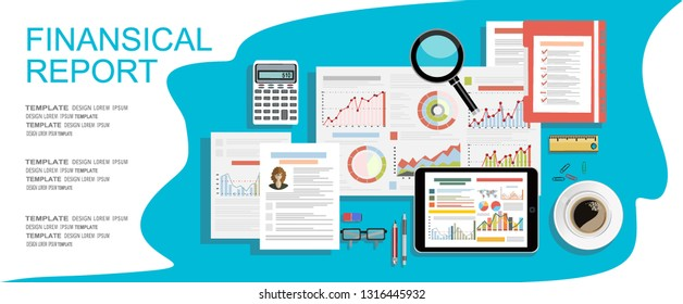 financial report with charts. Full of business papers. Auditing, tax process, accounting voncept. Vector illustration in flat style