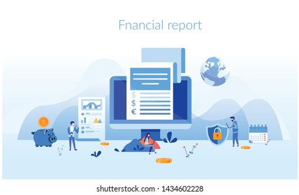 Financial report Concept for web page, banner, presentation, social media, documents, cards, posters. Vector illustration strategy, planning, market research, finance, investment