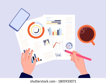 Financial report. Hands writing charts, banking diagrams or research results. Calculation of investments, person engaged in accounting top view vector illustration