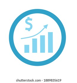 Financial Report vector icon. Style is circled flat bicolor symbol, rounded corners, white background.