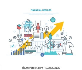Financial results. Data analysis, financial management report, forecast, market stats, results activities, banking, commercial prosperity, growth of economic indicators. Illustration thin line design.