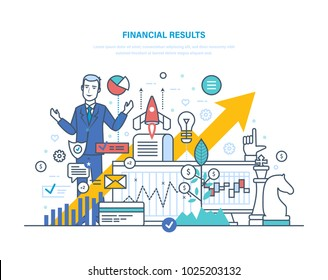 Financial results. Data analysis, financial management report, forecast, market stats, results activities, banking, business strategy, growth of economic indicators. Illustration thin line design.