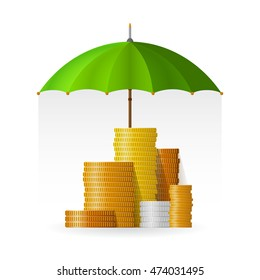 Financial safety and insurance concept with coin piles in flat style