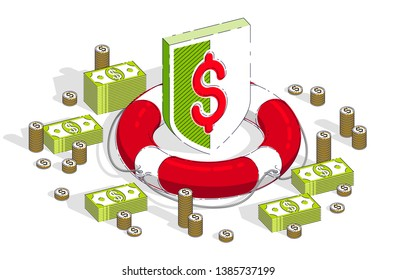 Financial safety and protection concept, Life Buoy and Shield with cash money dollar stack and coins isolated on white background. Vector 3d isometric business and finance illustration.