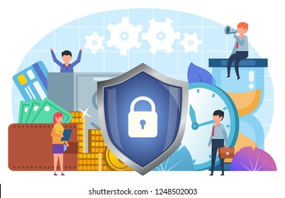 Financial security, money, business insurance. Small people stand near big shield, cash, coins, time. Poster for social media, web page, banner, presentation. Flat design vector illustration