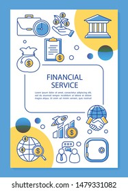 Financial service poster template layout. Accounting, banking industry. Banner, booklet, leaflet print design with linear icons. Vector brochure page layouts for magazines, advertising flyers
