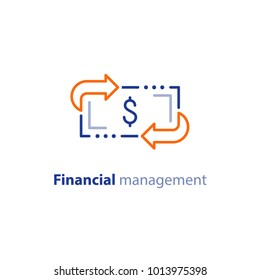 Financial services, cash back concept, money refund, return on investment, savings account, currency exchange, vector line icon