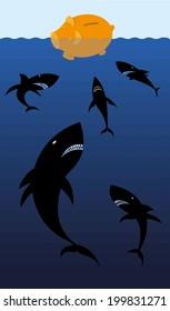Financial sharks. Sharks harassing piggy bank symbolizing savings, investments or wealth in danger because speculators.