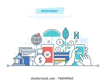 Financial smart investment, finance, banking, marketing, market data analytics, financial planning, security of deposits, financial savings, future income growth. Illustration thin line design.